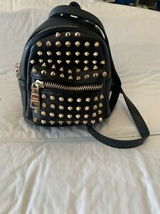NEW STEVE MADDEN STUDDED FAUX BLACK LEATHER CONVERTIBLE BELT BAG $92. Bruno