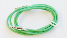 GREEN 1m Braided GOLD Jack to Jack 3.5mm Audio Cable Aux Stereo Lead Mobile Car