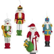 Bucilla Hallmark Felt Applique Kit Set of 4 - Santa Nutcracker Ornaments