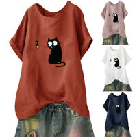 Women's Loose Cat Print Plus Size T-Shirt Casual Beach Vintage Funny Blouse Tops