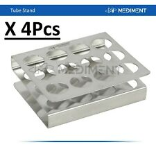 4 Pcs Dental Stainless Steel Tube Stand Rack Holder 12 Holes Lab support