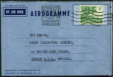 Cocos Islands 1963 (Aug.) use of 1/- Palm Trees on a permit aerogramme