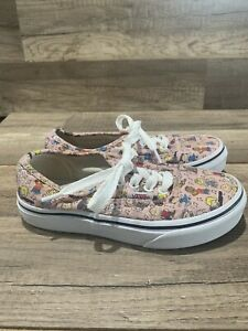 VANS Off The Wall Peanuts Shoes Size Kids 12.5 Snoopy, Charlie Brown Pink Shoes