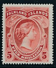 SG 42 Falkland island 1898 5/- Red. A pristine very lightly mounted mint example
