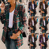 Womens Plaid Check Tartan Blazer Suit Retro Duster Coat Jacket Outwear LadiHK