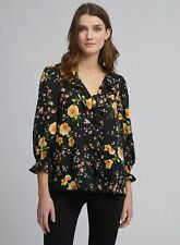 Dorothy Perkins Womens Black Floral Print Ruffle Top 3/4 Sleeve V-Neck Blouse