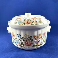 """AYNSLEY COTTAGE GARDEN HYSTYLE CASSEROLE W/LID BONE CHINA Oven-To-Table 5"""""""