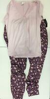 Venus Women's Short Sleeve Floral Lace-Trim V-Neck Pajama Set (Pink, L)