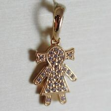 18K ROSE GOLD GIRL PENDANT, BABY, LENGTH 0.83 INCHES, ZIRCONIA, MADE IN ITALY