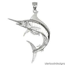 New .925 Sterling Silver Marlin Fish Pendant
