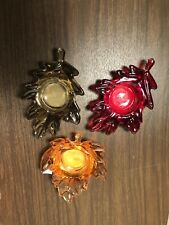 3 Colored Fall Leaf Candle Holders, Halloween And Thanksgiving Decorations.