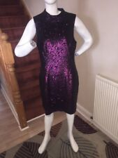 French Connection Starlight Sparkle High Neck Sequin Dress Size 16 Dark Magenta
