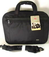 OLYMPIA Expandable Black Nylon Briefcase Business Case NEW NWT