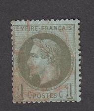 France -Timbres oblitérés - N° 25 - 1c bronze - Oblitération rouge - 1870