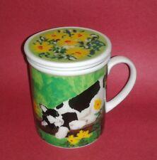 HERMAN DODGE Cat Design Tea Infuser Mug + Lid by Connie Williams