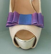 2 Handmade Sheer Two Tone Pink / Purple Triple Bow Clips for Shoes