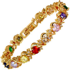 Sarotta Jewelry Rhinestone Round Cut Multi-Color Tennis Statement Bracelet