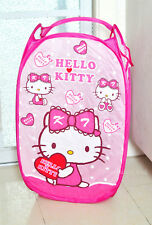 Cute Pink Hello Kitty Foldable Laundry Toys Basket Tidy Clothes Socks Storage