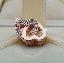 Genuine Pandora Rose Gold Entwined Hearts Love Bead Charm 781880CZ