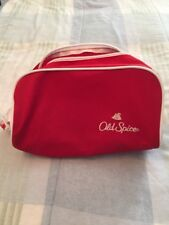 Vintage Old Spice Embroidered Zippered Toiletry/Travel Bag Red/White