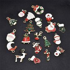 20x Alloy Enamel Mixed Christmas Charms Pendant Decor Craft DIY Making Jewelry