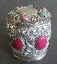 old Tibetan silver colored pot with cabochon stones  中国古董 Tibétain pot argent ?