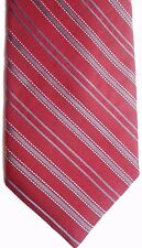 "Jos. A Bank Men's Silk Tie 60.5"" X 3.75"" Burgundy w/ gray/gold American Stripes"