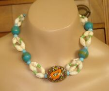 Vtg 5 Pc Fancy Bead SHELL NECKLACES Luau Party Cruse Beach Jewelry NOS