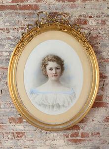 "19th century ""Girl Portrait"" Pastel under glass  w/ Oval Gilt-Wood Frame"