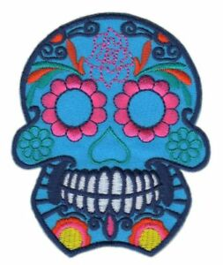 Ad69 Mexican Skull Sew-On Application Patch Patches 3x3 1/2in