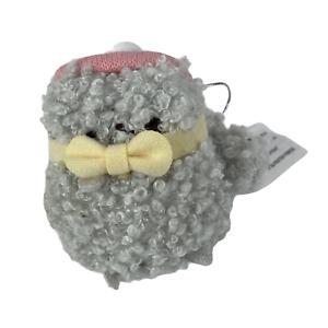 "Pusheen Mini Stuffed Plush Christmas Ornament 3"" Yellow Bow w/ Pink Hat EUC"