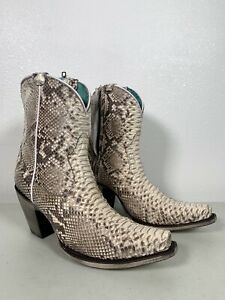 Women's Corral Python Boots Natural With Zipper Genuine Handmade Size 7 A3791