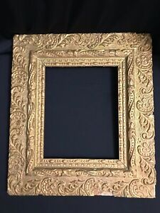 """Victorian ornate antique gold gesso wood photo art frame hand crafted 15x17"""""""