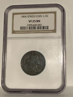 1804 Half Cent Spiked Coin NGC VF25