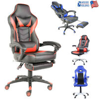 Racing Game Office Chair With Footrest Ergonomic High-Back Swivel Computer Chair