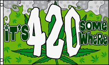 It's 420 Somewhere Marijuana Flag 3' X 5' Indoor Outdoor Banner