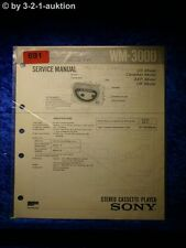 Sony Service Manual WM 3000 Cassette Player (#0691)