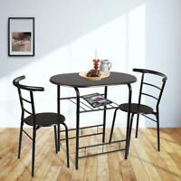 3Pcs Metal Wood Table & 2 chair Set Storage Shelf Kitchen Home Dining Furniture