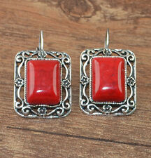 New Tibetan Silver Artesian Carved Rectangle Red Leverback Dangle Earrings