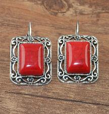 New Tibetan Silver Artesian Carved Rectangle Red Leverback Dangle Earrings