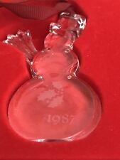 1987 Orrefors Christmas Ornament Tree Crystal Snowman Box