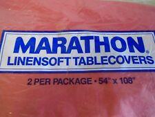Vintage Marathon linensoft tablecloth disposable  54x 108 2 pack sealed red