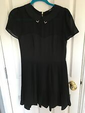 Oasis Black Pleated Skirt Dress, Exposed Zip, Size 10, WORN ONCE