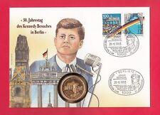 KENNEDY BESUCHT BERLIN ** NUMISBRIEF KENNEDY MIT MEDAILLE J.F. KENNEDY VERGOLDET
