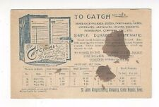 1894 UX12 Postal Card, Cedar Rapids Iowa Advertising, The Catch Expandable Files
