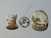 Vintage Lot of 3 Thin Metal Christmas Ornaments Dated 1987, 1989