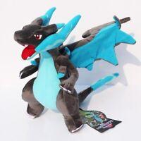 "Blue Charizard X Pokemon Mega Plush Doll Stuffed Toy Gift 10"" Plushies Evolution"