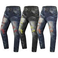 NEW Men Denim Jeans Ripped Distressed Zipper Regular Fit Red Yellow Size 32-44