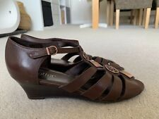 "HOTTER ""SURABAYA"" BROWN LEATHER WEDGE SANDALS SIZE UK 5.5"