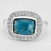 Faceted London Blue Topaz & Cz 925 Sterling Silver Ring Jewelry DGR1073_I